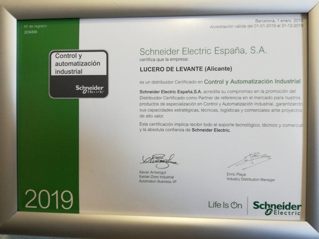 LUCERO DE LEVANTE NOMBRADO ESPECIALISTAS SCHNEIDER ELECTRIC (VALENCIA JUNIO 2019)