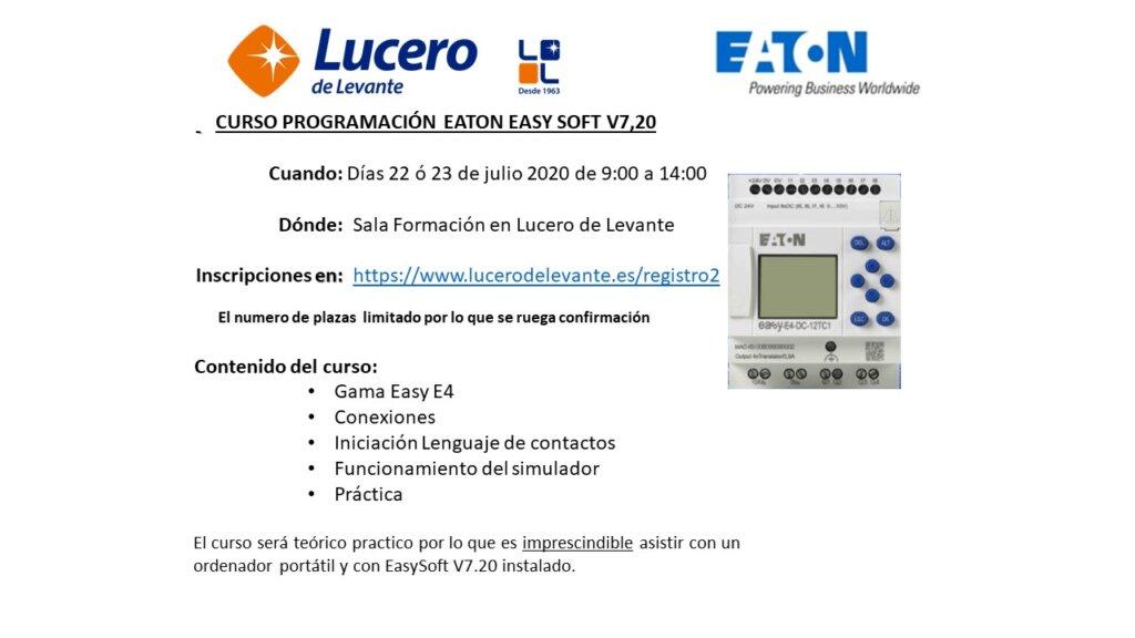 Curso Programación EASY SOFT de EATON dias 22 ó 23 julio 2020 en Lucero de Levante