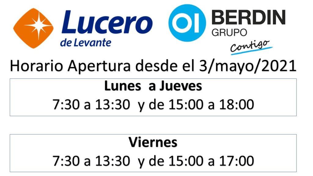 HORARIO DE APERTURA DESDE EL 3/MAYO/2021